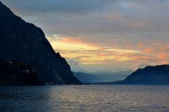 Panoramic view to lake Como and lakefront near Lecco at sunset. Royalty Free Stock Images