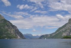Panoramic view to lake Como near Lecco in spring Stock Image
