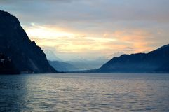 Panoramic view to lake Como near Lecco at sunset. Stock Photos