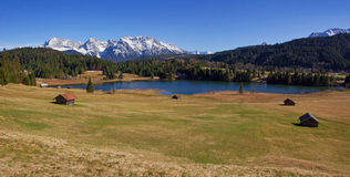 Panoramic view to lake gerold and karwendel mountains Stock Photos