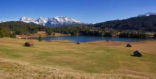 Panoramic view to lake gerold and karwendel mountains Stock Photos
