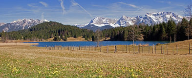 Panoramic view to lake geroldsee and karwendel mountains Stock Photos
