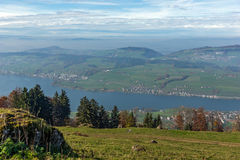 Panoramic view to Lake Luzerne, Alps Stock Image