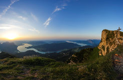 Panoramic View To Lake Mondsee & Lake Attersee From Schafbergspitze 1.783m At Sunset Stock Photos