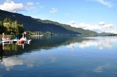 Panoramic view to Lake Ossiach, Austria Royalty Free Stock Images