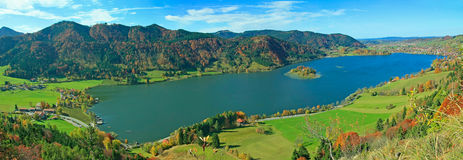 Panoramic view to lake schliersee, autumnal bavarian landscape Stock Photo