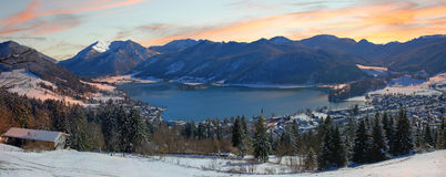 Panoramic view to lake schliersee, germany Stock Photos