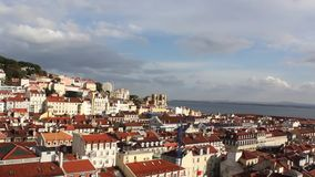 Panoramic view to Lisbon And River Tejo stock footage