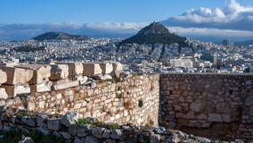 Panoramic view to Lykavittos hill in city of Athens Stock Images