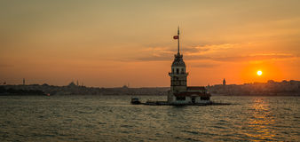 Panoramic view to the Maiden's tower in Istanbul, Turkey at suns Stock Photo