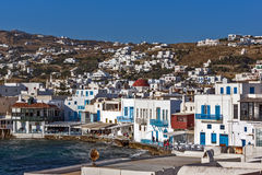 Panoramic view to main town of island of Mykonos, Greece Stock Photo