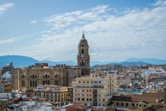 A panoramic view to Malaga city and its cathedral. With mountains at the background Royalty Free Stock Photos