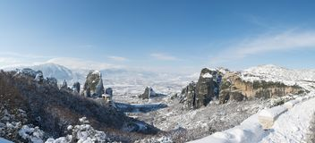 Panoramic view to Meteora and monasteries stock images