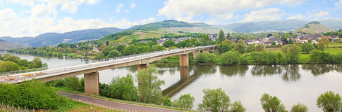 Panoramic view to mülheim village, mosel river, germany Royalty Free Stock Photography