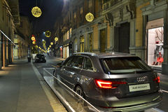 A panoramic view to the Montenapoleone fashion street in Milan by night. Royalty Free Stock Photo