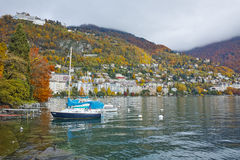 Panoramic view to Montreux and Alps, canton of Vaud Stock Images