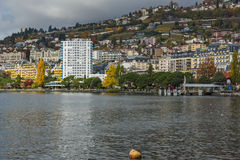 Panoramic view to Montreux and Lake Geneva, canton of Vaud, Switzerland Royalty Free Stock Photo
