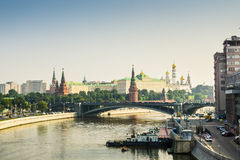 Panoramic view to Moscow Kremlin from bridge over Moscow river. Stock Photos
