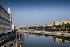Panoramic view to Moscow Kremlin from bridge over Moscow river. Royalty Free Stock Photos