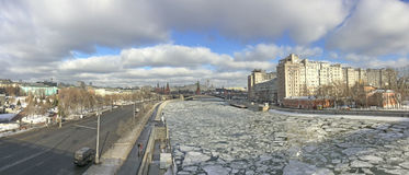 Panoramic view to Moscow Kremlin, Moscow river and the House on the Embankment from Patriarshiy bridge. Stock Photography