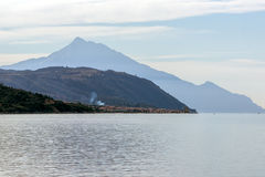 Panoramic view to mount Athos, Self-governed monastic state of Mount Athos Royalty Free Stock Photo