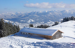 Panoramic view to mountain range and valley, cottage, bavarian l Royalty Free Stock Photography
