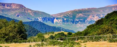 Panoramic view to mountains Stock Photography