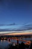 Panoramic view to Novi Sad and bridges from Petrovaradin. Fortress, Serbia Royalty Free Stock Photo