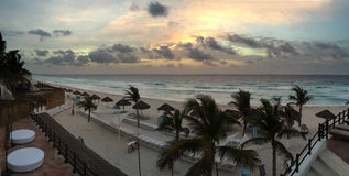 Panoramic view to the ocean at sunrise time. In Cancun, Mexico Stock Images