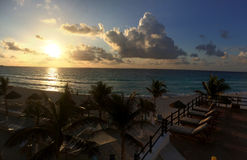 Panoramic view to the ocean at sunrise time. In Cancun, Mexico Stock Photo