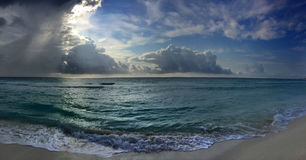 Panoramic view to the ocean at sunrise time. In Cancun, Mexico Royalty Free Stock Photography