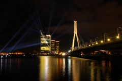 Panoramic view to the office building Saules Akmens and cable-stayed bridge Vansu stock photo