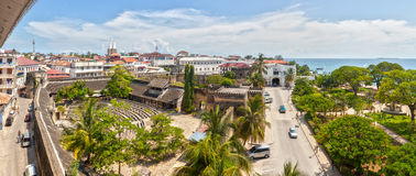 Panoramic view to the Old fort at Stone Town, Zanzibar, Tanzania. Panoramic view to the Old fort (Ngome Kongwe, Arab Fort) from the House of Wonders, Stone Town royalty free stock photos
