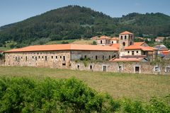 Cornellana, Camino de Santiago, Spain. Panoramic view to the old monastery of Cornellana, landmark on the Camino de Santiago trail between Grado and Salas royalty free stock image
