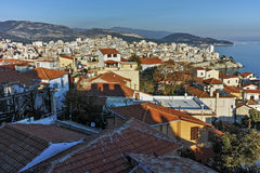 Panoramic view to old town of Kavala, East Macedonia and Thrace Stock Images