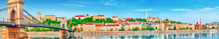 Panoramic view to one of the most beautiful cities in Europe- Bu. Dapest, side Buda city. Budapest, Hungary Royalty Free Stock Images