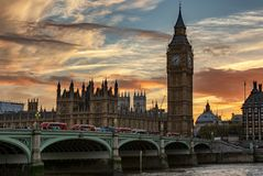 Panoramic view to the Parliament of London at Westminster with the Big Ben clocktower during sunset. Panoramic view to the Parliament of London at Westminster stock image