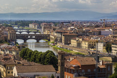 Panoramic view to Ponte Vecchio, Florence Royalty Free Stock Photo