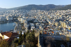 Panoramic view to port of city of Kavala, Greece Stock Photography