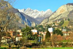 Panoramic view to Resegone mountain near Milan in winter sunny day. Royalty Free Stock Photos