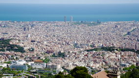 Panoramic view to residential district of Barcelona. Catalonia, Spain stock video footage