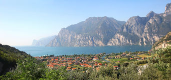 Panoramic view to riva del garda, garda lake, italy Stock Photography