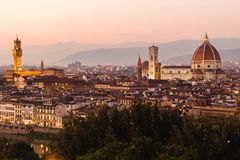 Panoramic view to the river Arno, Florence, Italy Royalty Free Stock Image