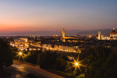 Panoramic view to the river Arno, with Ponte Vecchio Stock Photos