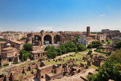 Panoramic view to Roman Forum ruins Royalty Free Stock Photo
