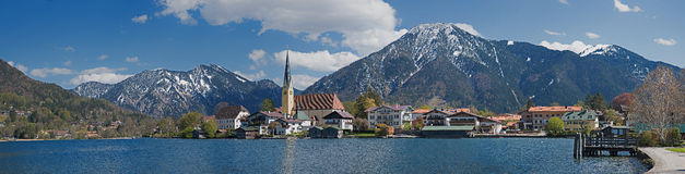 Panoramic view to rottach-egern and lake tegernsee with alps Royalty Free Stock Photography