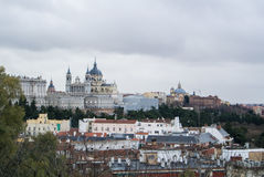A panoramic view to Royal Palace of Madrid. And its surroundings on cloudy winter day, Madrid, Spain Royalty Free Stock Photography