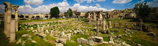 Panoramic view to ruins of Venus temple, Baalbek, Beqaa, valley, Lebanon. Panoramic view to ruins of Venus temple at Baalbek, Beqaa, valley, Lebanon Stock Images