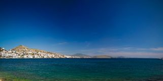 Panoramic view to Saranda city,Lekuresi Castle and bay of Ionian sea, Albania stock images