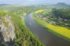 Panoramic view to Saxon Switzerland from Bastei, Rathen, Germany Royalty Free Stock Photo